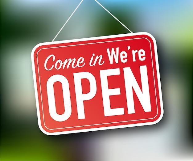 Kom binnen, we zijn open hangend teken op witte achtergrond. teken voor deur. stock illustratie.