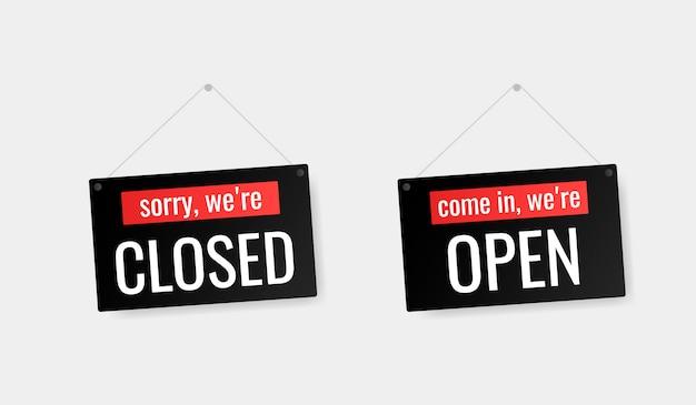 Kom binnen we zijn open, sorry we zijn gesloten deur uithangbord