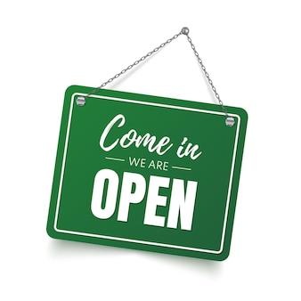 Kom binnen, we zijn open teken