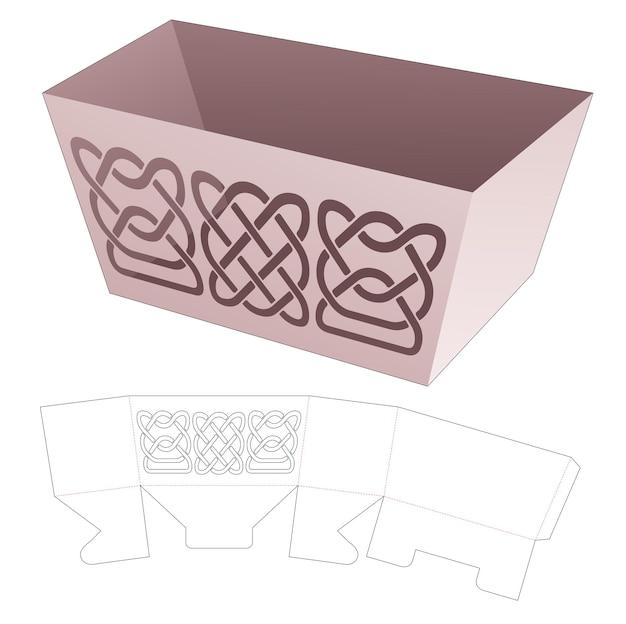 Kom doos met gebogen lijn sjabloon gestanst sjabloon