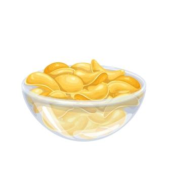 Kom met chips illustratie. knapperige snack, aardappelproduct.