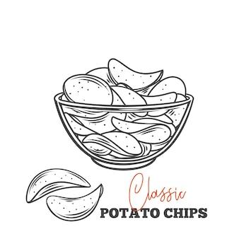 Kom met chips schets illustratie