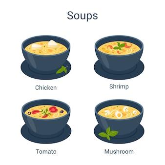 Kom met hete smakelijke soepreeks. verzameling van soep en ingrediënten. tomaat en aardappel, ui en wortel.