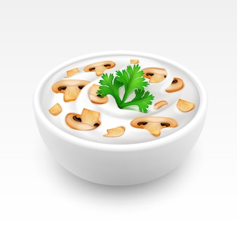 Kom met saus met peterselie en champignons