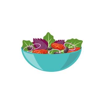 Kom met verse vegetarische schotel met basilicum en tomaat, platte vectorillustratie geïsoleerd op een witte ondergrond
