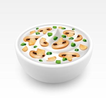 Kom roomsaus met ui en champignons