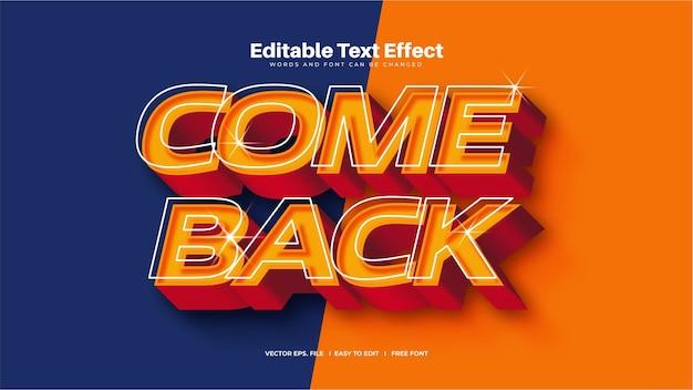 Kom terug 3d-teksteffect