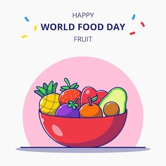Kom vol met vers fruit cartoon afbeelding wereldvoedseldag vieringen.