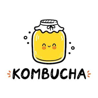 Kombucha-citaat en schattige vrolijke pot.