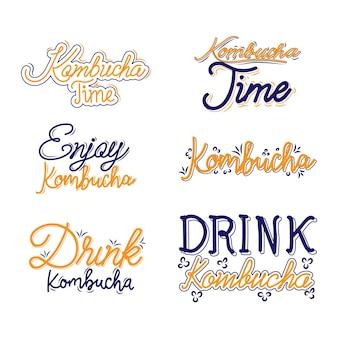 Kombucha-thee - belettering collectie