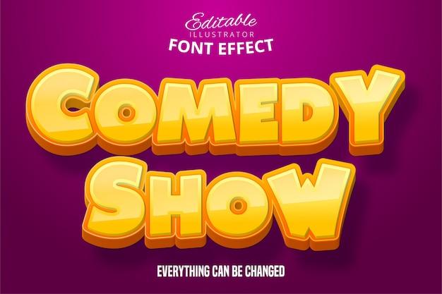 Komedie showtekst, 3d-bewerkbaar lettertype-effect