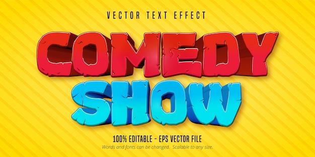 Komedie toont tekst, bewerkbaar teksteffect in komische stijl
