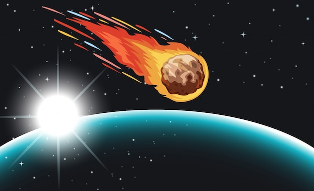 Komeet vliegen in de ruimte