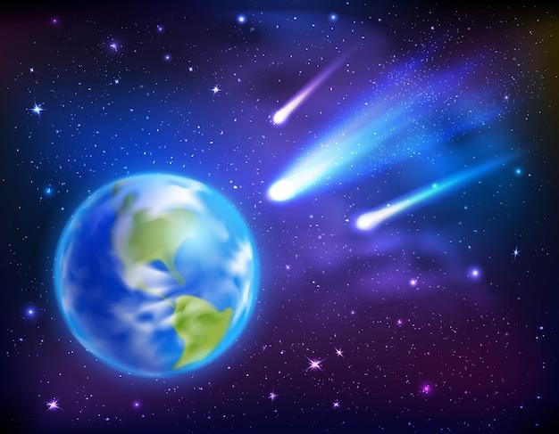 Kometen die naar de achtergrond van de aarde komen