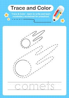 Kometen traceren en kleuren werkbladtracering voor kinderen voor het oefenen van fijne motoriek
