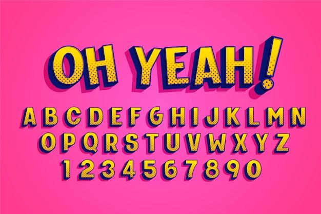 Komisch 3d-alfabetontwerp