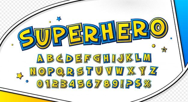 Komisch geel-blauw lettertype. cartooneske alfabet op stripboekpagina