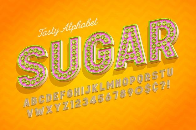 Komisch lekker 3d-display lettertype ontwerp, alfabet en letters