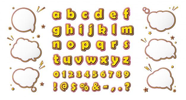 Komisch lettertype, cartoonachtig alfabet en tekstballonnen