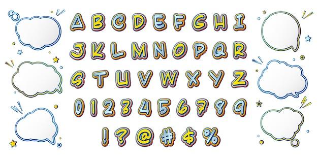 Komisch lettertype, cartoonachtig geel-blauw alfabet en set tekstballonnen