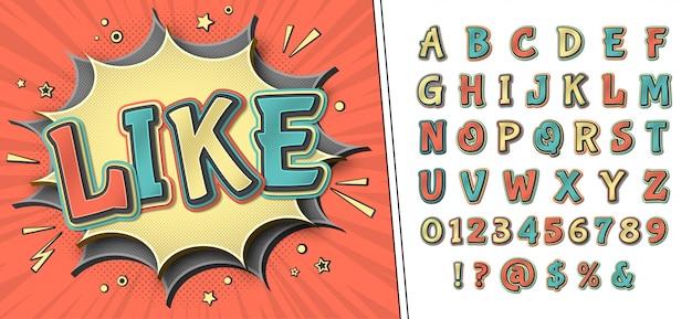Komisch lettertype. retro alfabet op stripboekpagina