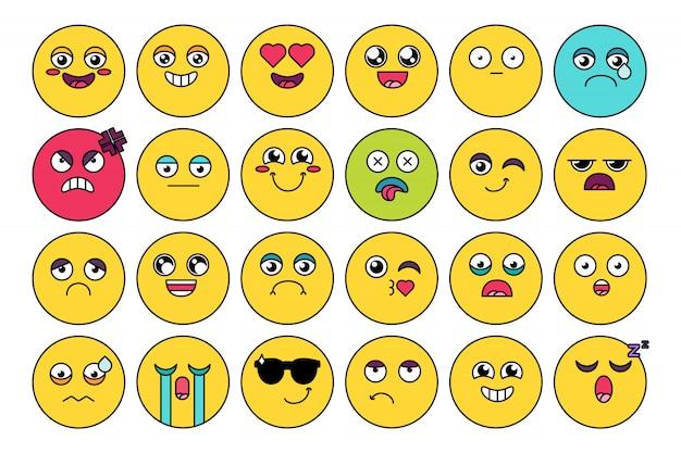 Komisch, schattig emoji-stickerpakket