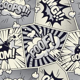 Komisch zwart-wit naadloos patroon