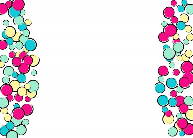 Komische achtergrond met popart polka dot confetti.