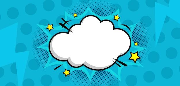 Komische blauwe achtergrond met wolk en ster
