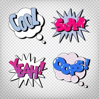 Komische bubbels met uitdrukkingen