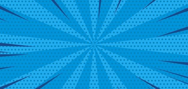 Komische burst blauwe achtergrond met halftoon