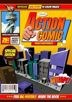 Komische cover sjabloon achtergrond, flyer brochure.
