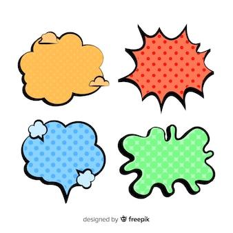 Komische gekleurde spraak en dialogen bubbels