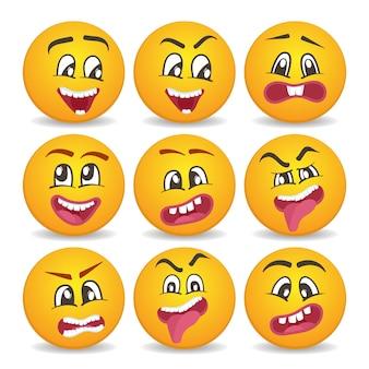 Komische gele gezichten pictogrammen instellen