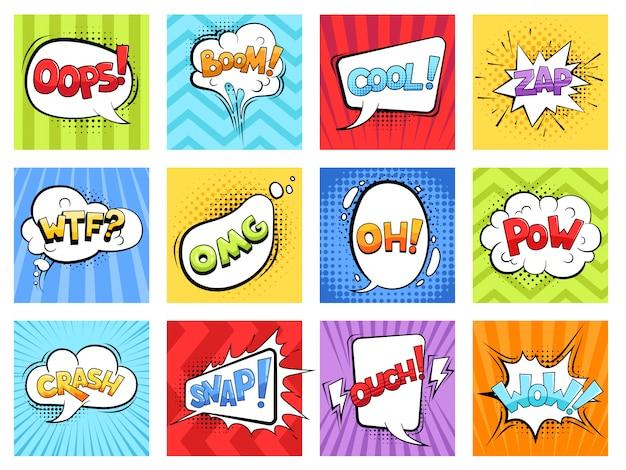 Komische geluiden. cartoon ontploft gestripte burst-frames en tekstballonnen met woorden boom vector retro sjabloon