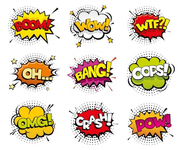 Komische geluidseffecten in pop-artstijl