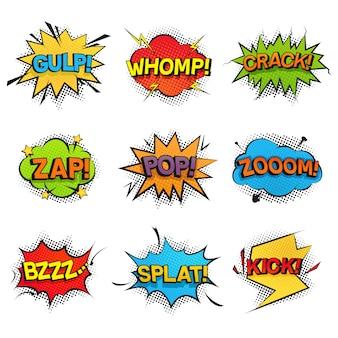 Komische grappige spraak bubbels collectie. set geluidseffecten, geluid, gerommel, zoemen, kraken en crashen. kleurrijke pop-art retro-stijl voor stripboeken