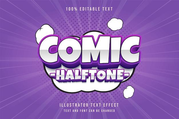 Komische halftoon, 3d bewerkbaar teksteffect roze gradatie paarse komische tekststijl
