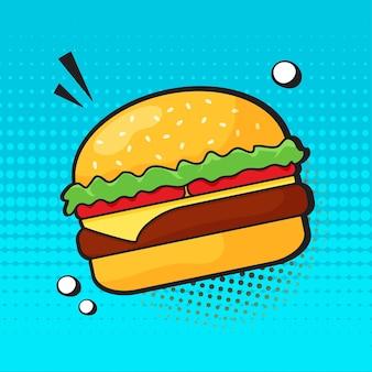 Komische hamburgerbeeldverhaal op blauw.