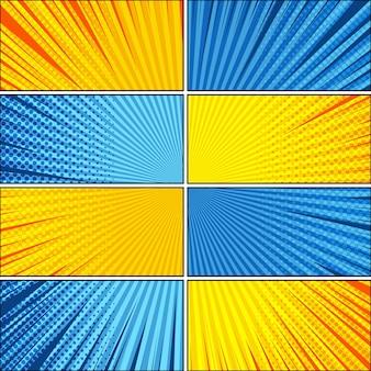 Komische heldere explosieve achtergrond met verschillende humoreffecten in gele en blauwe kleuren.