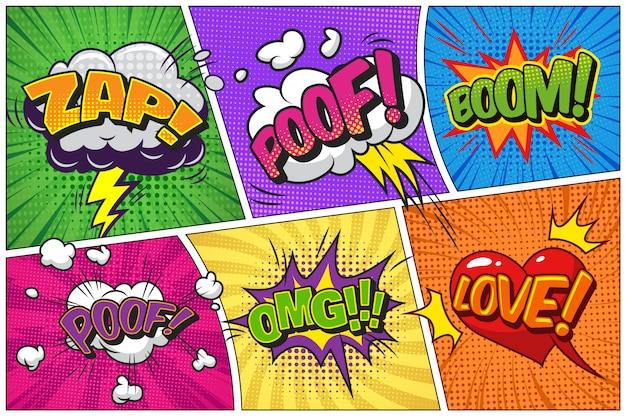 Komische heldere sjabloon met tekstballonnen op kleurrijke frames