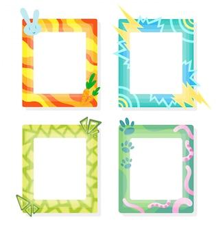 Komische kaders in cartoon-stijl. decoratieve vector frames sjabloon. plakboeken ontwerpconcept. plaats om uw foto in te voegen