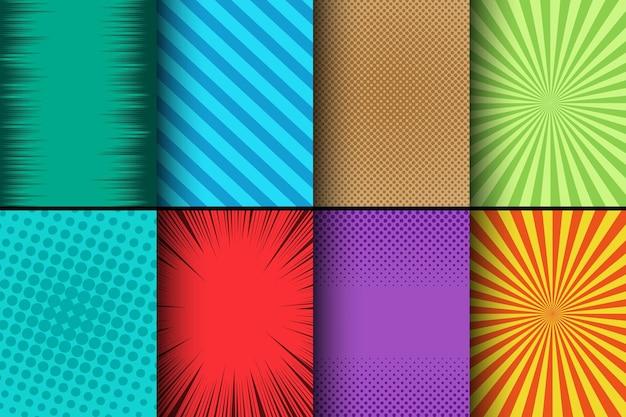 Komische kleurrijke kaarten met halftone radiale gestreepte en stralenhumoreffecten.