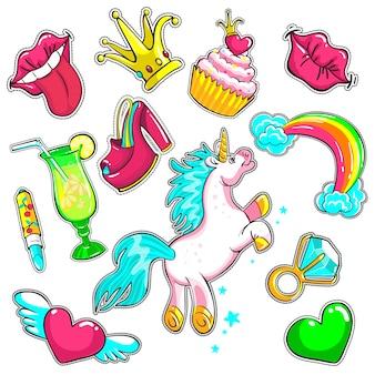 Komische kleurrijke patches set