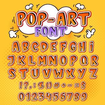 Komische lettertype cartoon alfabet letters in pop-art stijl en alfabetische tekstpictogrammen voor typografie illustratie