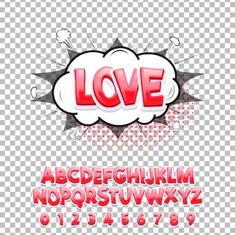 Komische lettertype love 3d. vector alfabet.