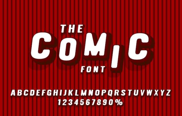 Komische lettertypeset collectie letters en cijfers symbool vector