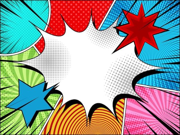 Komische pagina lichte achtergrond met lege tekstballon kleurrijke wolken explosieve zwarte stralen en verschillende humor effecten