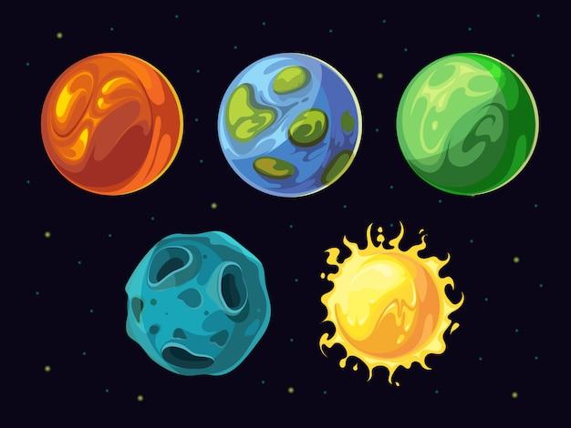 Komische planeten en sterren vectorreeks