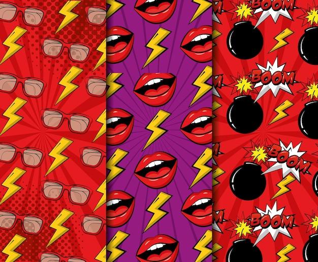 Komische pop-art banners lippen crash giek bril